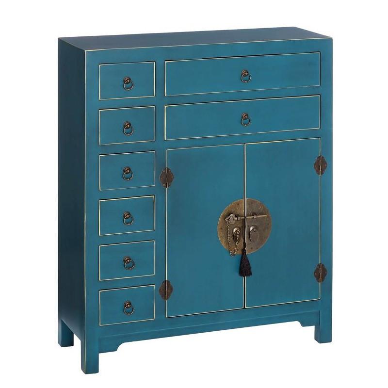 Meuble d'entrée Bleu 2 portes, 8 tiroirs - PEKIN - Univers des Petits meubles : Tousmesmeubles