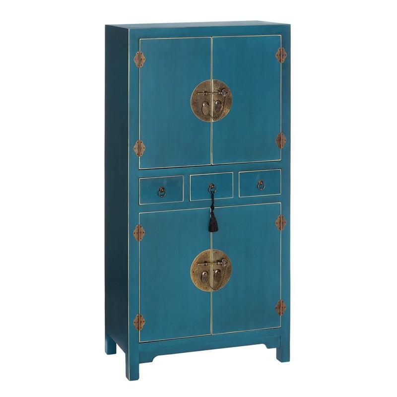 Armoire Bleue 2 portes, 3 tiroirs - PEKIN - Univers de la Chambre :Tousmesmeubles