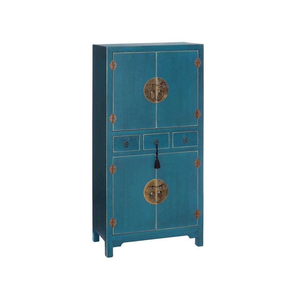 Armoire bleue meuble chinois pekin univers de la chambre for Meuble chinois bleu