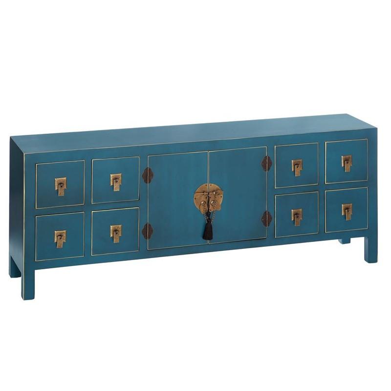 Dos de canapé Bleu 2 portes, 8 tiroirs - PEKIN - Univers du Salon et Petits meubles : Tousmesmeubles