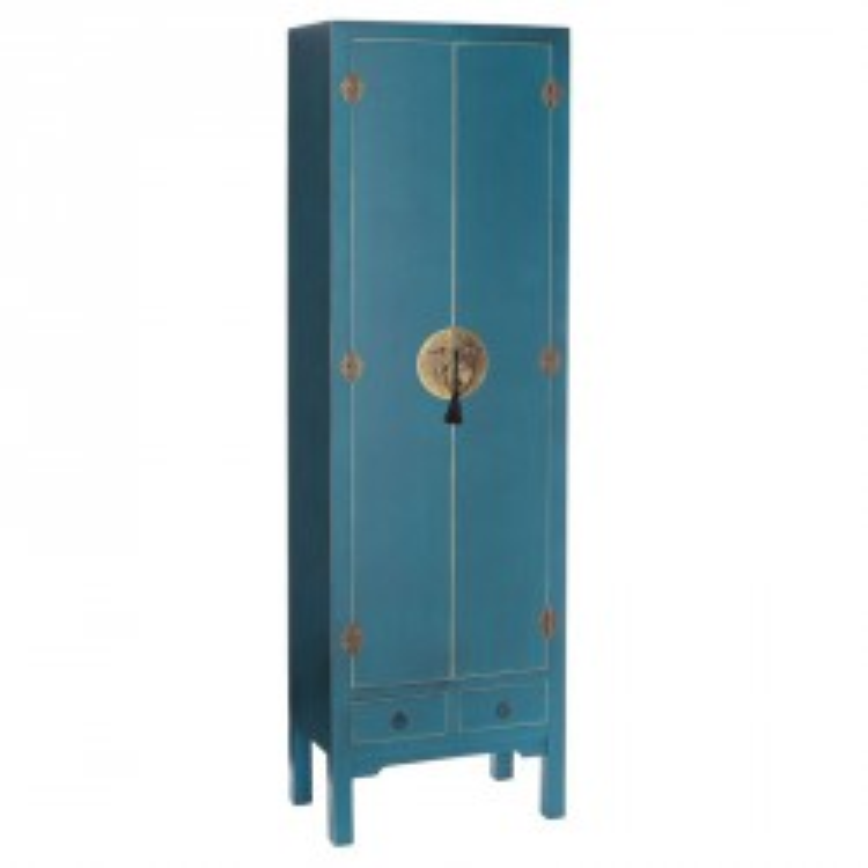 Armoire Bleue 2 portes, 2 tiroirs - PEKIN - Univers de la Chambre : Tousmesmeubles