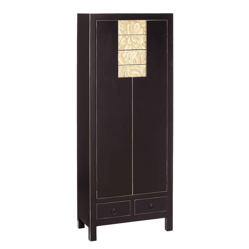 Armoire Noire 4 portes, 6 tiroirs - PEKIN - Univers de la Chambre et Petits meubles : Tousmesmeubles