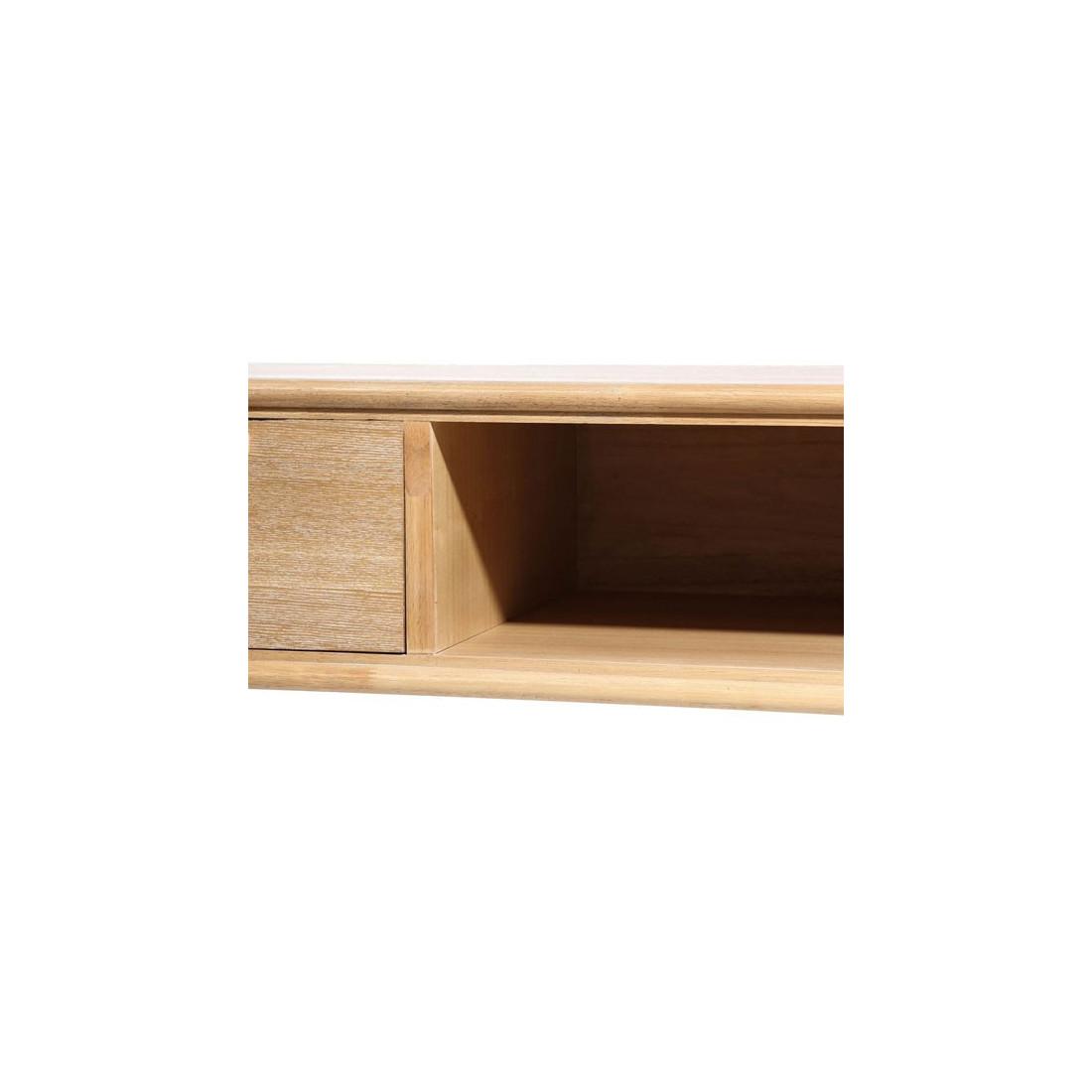 Meuble TV Bois Naturel 2 tiroirs, 1 niche BERGEN Univers du Salon # Meuble Tv Bois Naturel