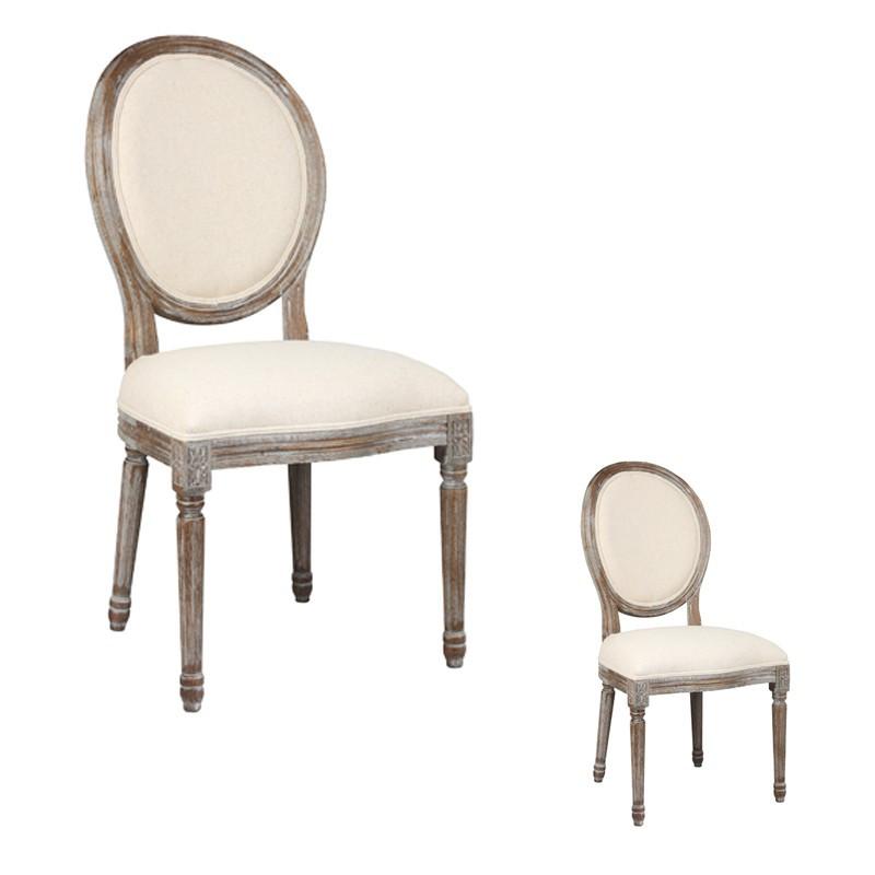 Duo de chaises Louis XVI Tissu LOUISON - Univers des Assises et Salle à manger : Tousmesmeubles
