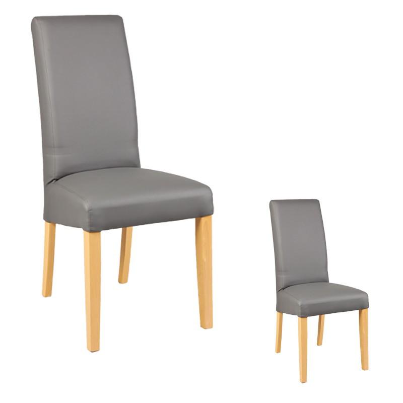 Duo de chaises Similicuir Gris KUBAN - Univers des Assises et Salle à manger : Tousmesmeubles