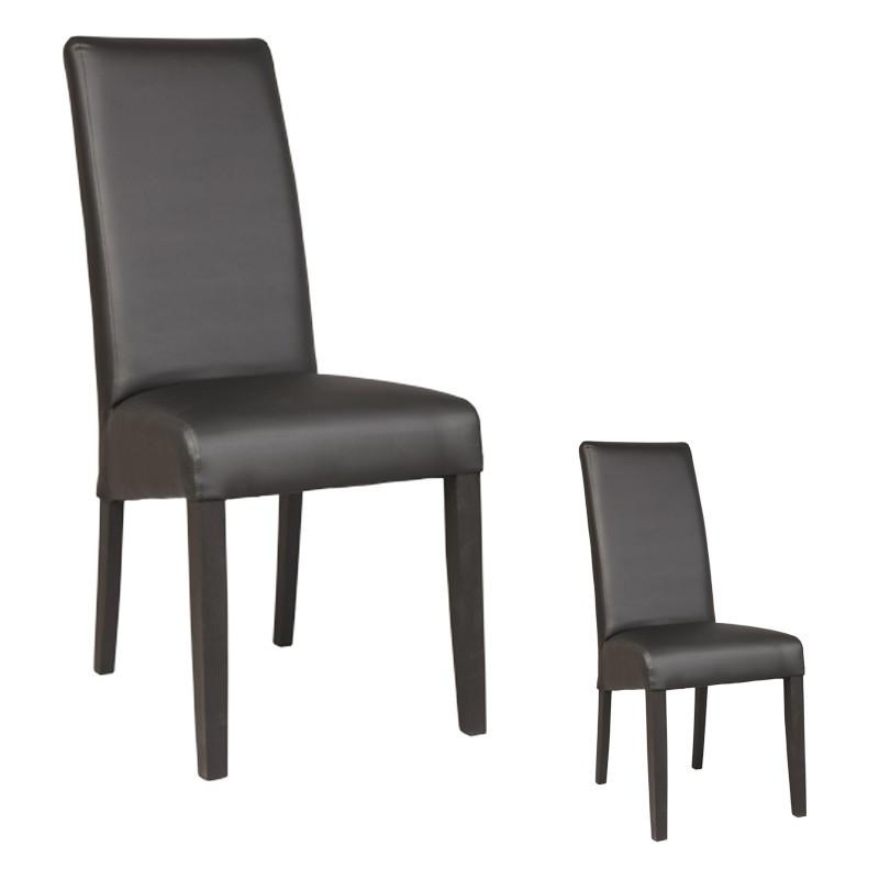Duo de chaises Similicuir Noir KUBAN - Univers des Assises et Salle à Manger : Tousmesmeubles
