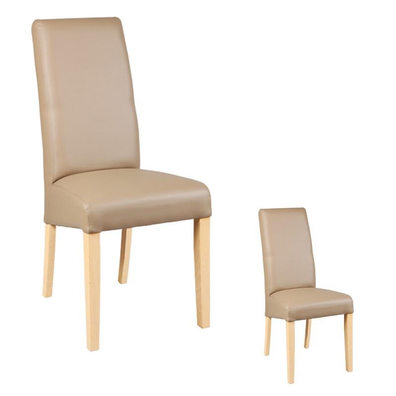 Duo de chaises Similicuir Taupe KUBAN - Univers des Assises et Salle à Manger : Tousmesmeubles