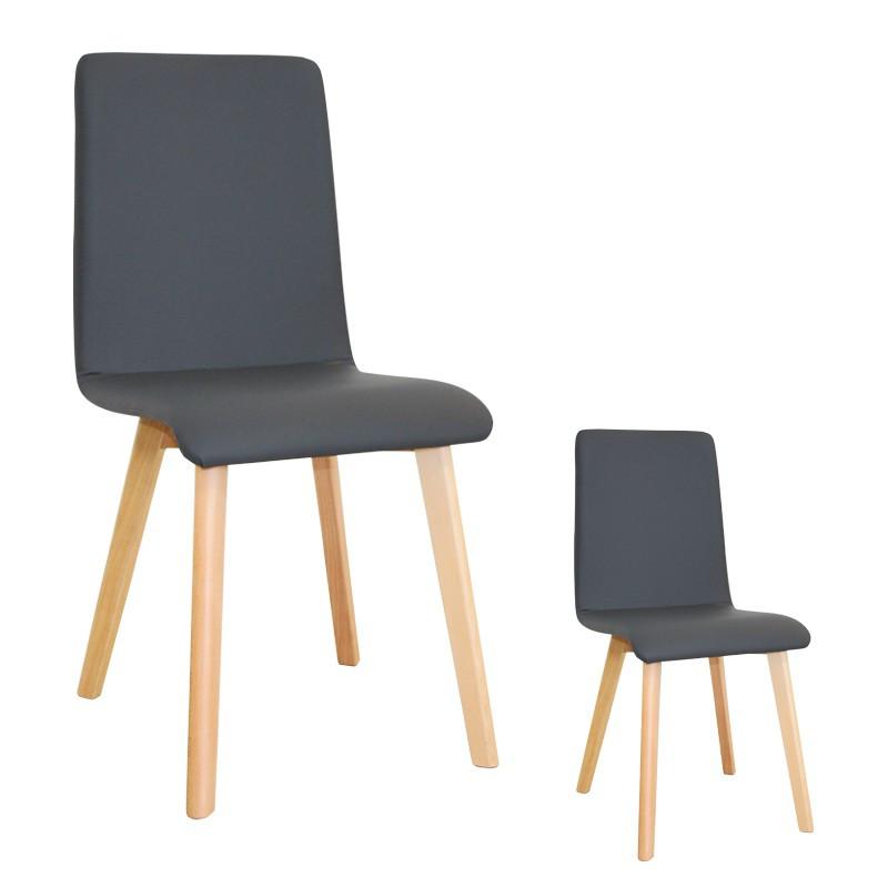 Duo de chaises Similicuir Gris VOLANTE - Univers des Assises et Salle à manger : Tousmesmeubles