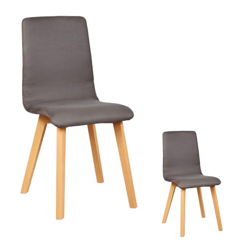 Duo de chaises Microfibre Grise VOLANTE - Univers des Assises et Salle à Manger : Tousmesmeubles