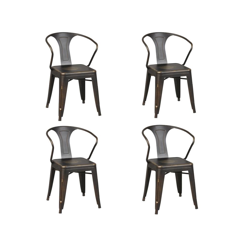 Quatuor de chaises Acier ROBUSTA - Univers des Assises et Salle à Manger : Tousmesmeubles