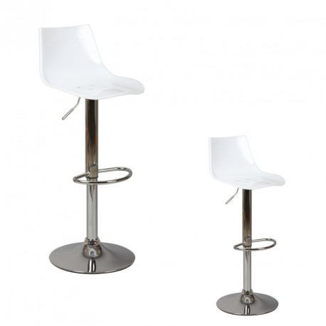 Duo de tabourets de bar Similicuir Blanc COCKY - Univers du Salon : Tousmesmeubles