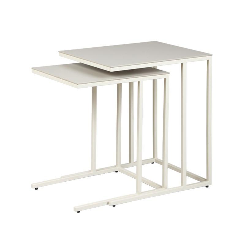 Tables gigognes plateau Céramique Gris clair DALLAS - Univers du Salon : Tousmesmeubles