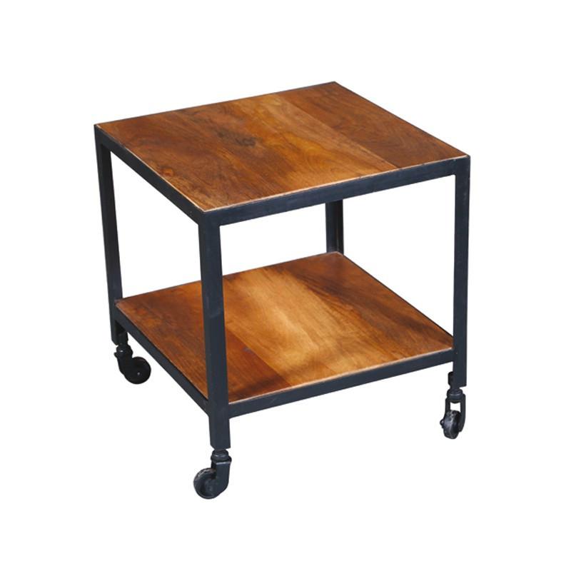 Bout de canapé sur roulettes en acier et bois de Palissandre DENVER - Univers du Salon : Tousmesmeubles