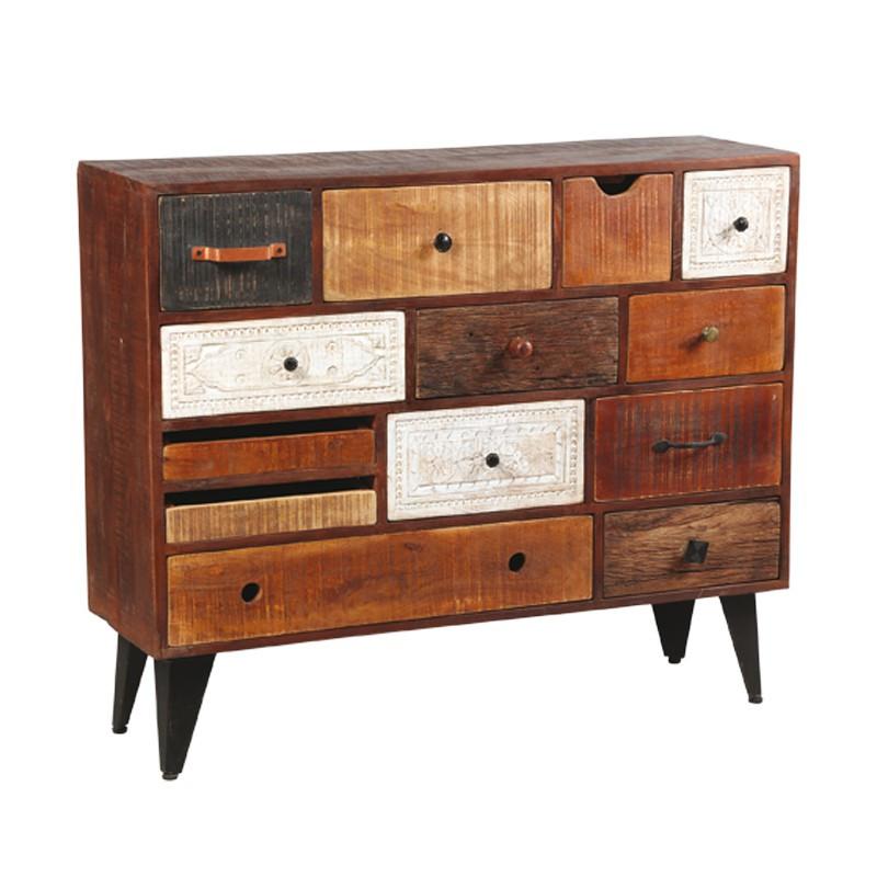 Commode 13 tiroirs en bois de Palissandre DENVER - Univers de la Chambre : Tousmesmeubles