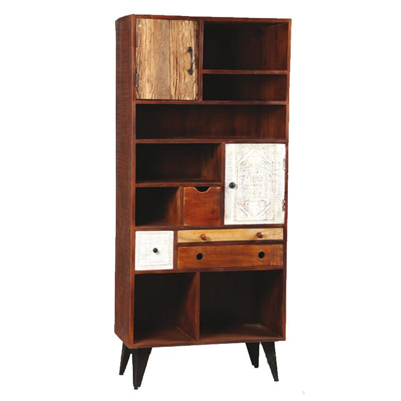Bibliothèque 2 portes, 4 tiroirs en bois de Palissandre DENVER - Univers du Salon : Tousmesmeubles