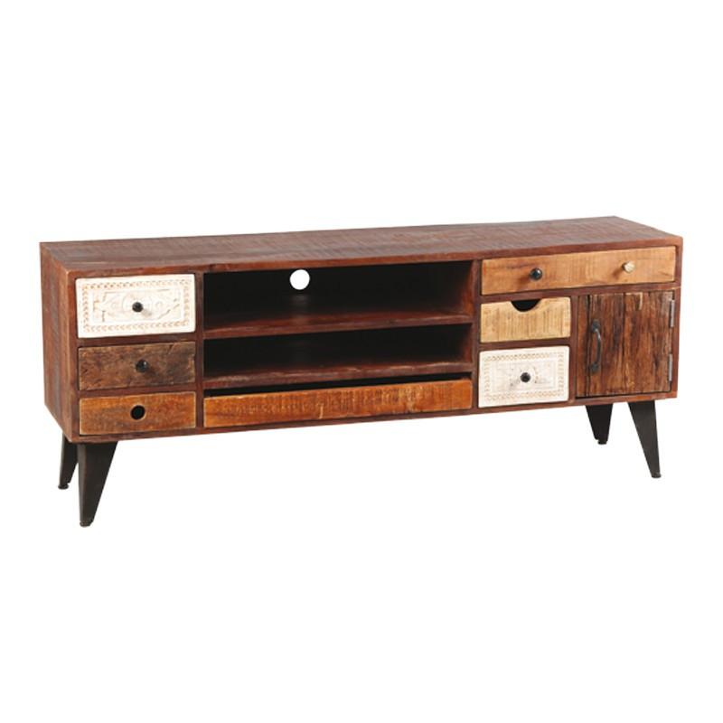 Meuble TV 7 tiroirs bois de Palissandre DENVER - Univers du Salon : Tousmesmeubles