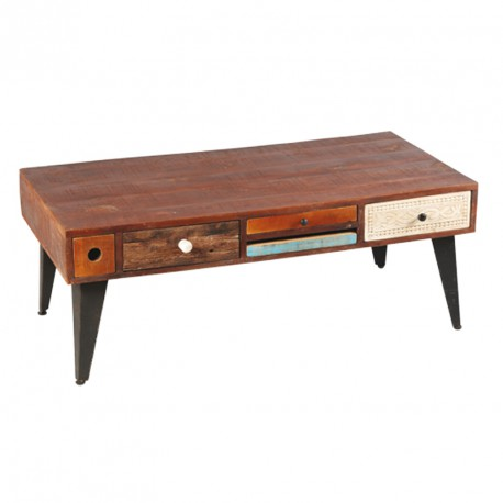 Table basse Rectangulaire 6 tiroirs bois de Palissandre DENVER - Univers du Salon : Tousmesmeubles