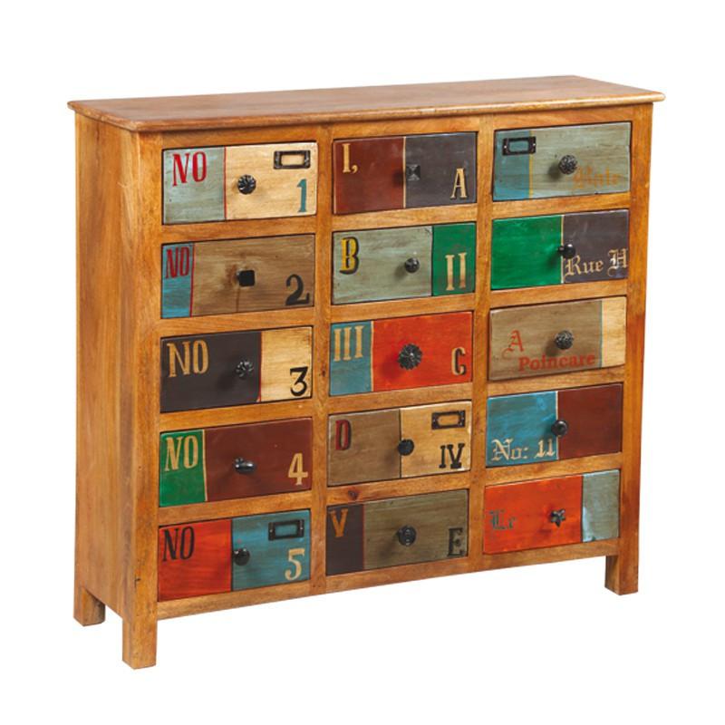 Meuble d'appoint 15 tiroirs en bois de Palissandre DENVER - Univers des Petits meubles : Tousmesmeubles
