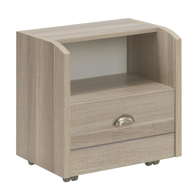 Table de chevet 1 tiroir sur roulettes - ZANZIBAR