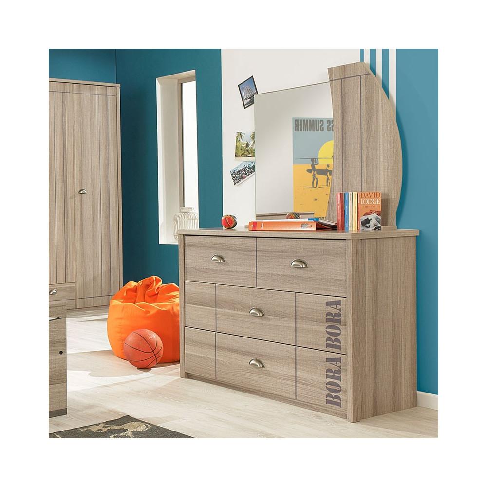 commode et miroir zanzibar univers de la chambre tousmesmeubles. Black Bedroom Furniture Sets. Home Design Ideas