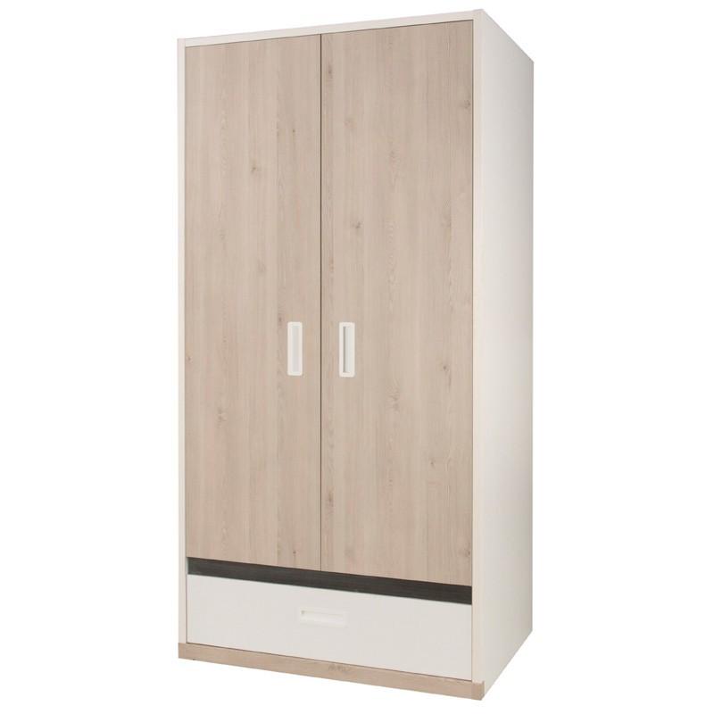 Armoire enfant 2 portes 1 tiroir bois EDEN - Univers Chambre : Tousmesmeubles