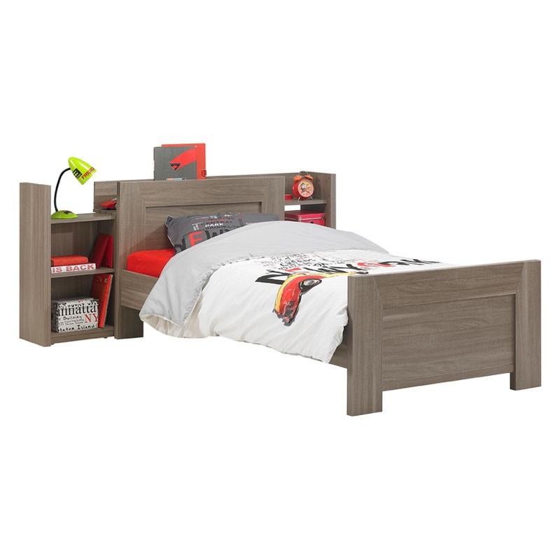 Lit 1 place + Module de rangement tête de lit bois MICKA - Univers Chambre : Tousmesmeubles