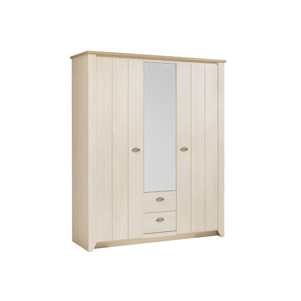 Armoire 3 portes 2 tiroirs bois - Univers Chambre : Tousmesmeubles