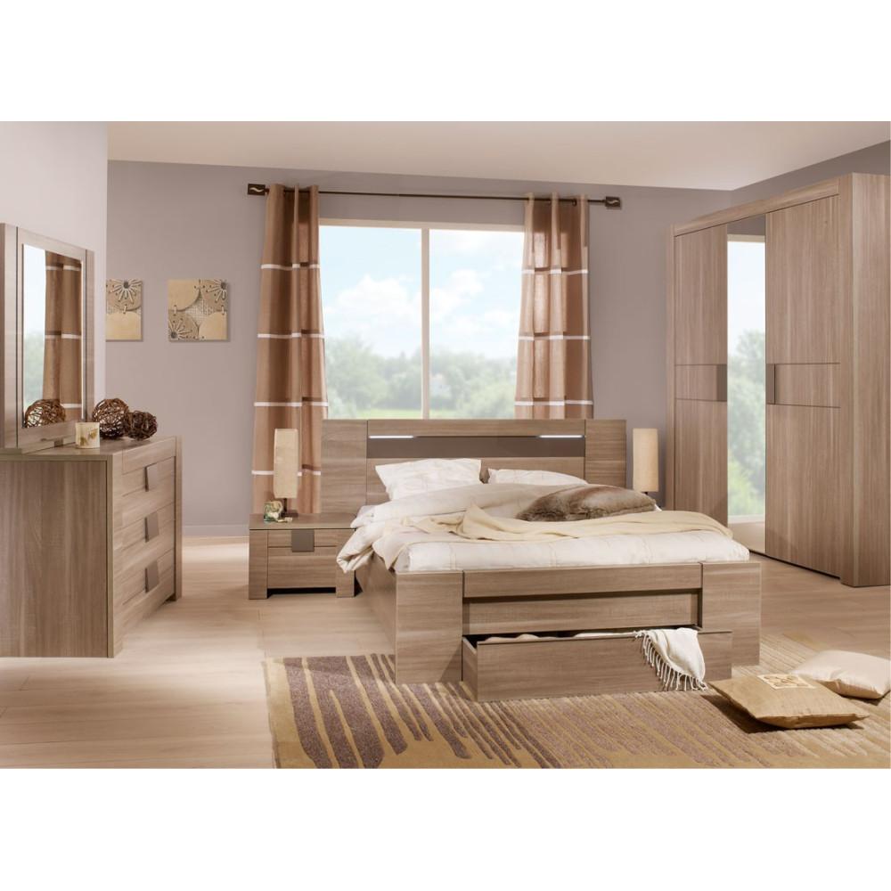 Chambre Adulte Complète (140*190) n°1 bois chocolat - Univers Chambre : Tousmesmeubles