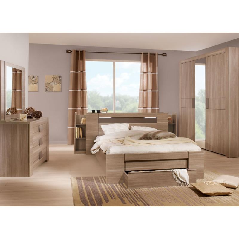 Chambre Adulte Complète (140*190) n°2 bois chocolat - Univers Chambre : Tousmesmeubles