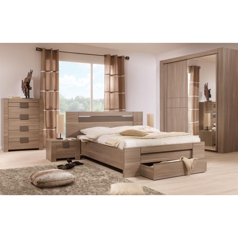 Chambre Adulte Complète (140*190) n°3 bois chocolat - Univers Chambre : Tousmesmeubles