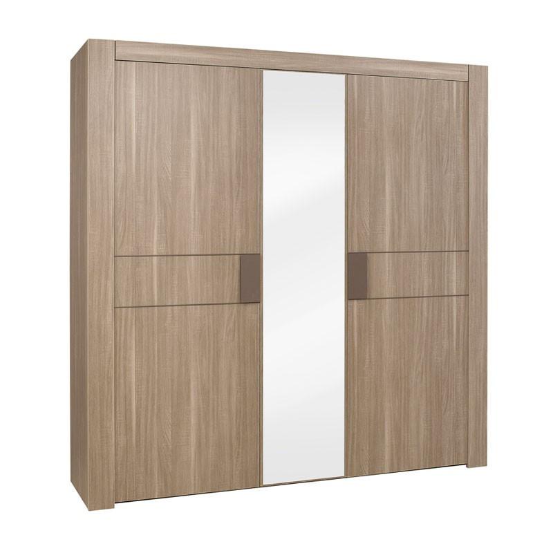Armoire 3 portes bois chêne fumé - Univers Chambre : Tousmesmeubles