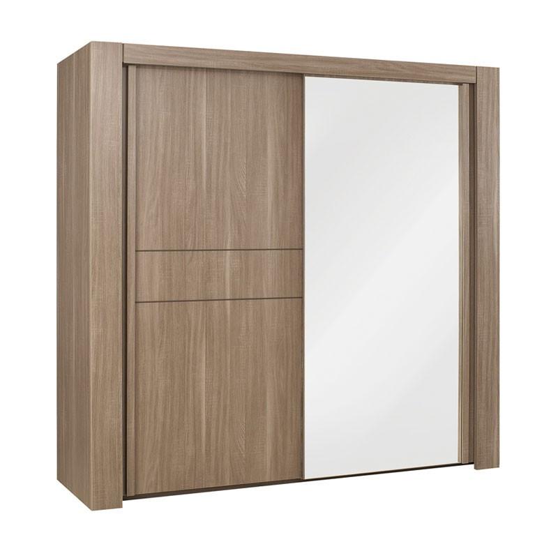 Armoire dressing 2 portes coulissantes bois chêne fumé - Univers Chambre : Tousmesmeubles