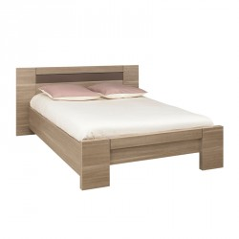 Cadre de lit + Tête de lit 140*190 bois chêne fumé - Univers Chambre : Tousmesmeubles