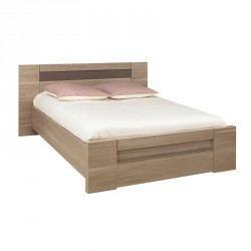 Cadre de lit à tiroir + Tête de lit 140*190 bois chêne fumé - Univers Chambre : Tousmesmeubles