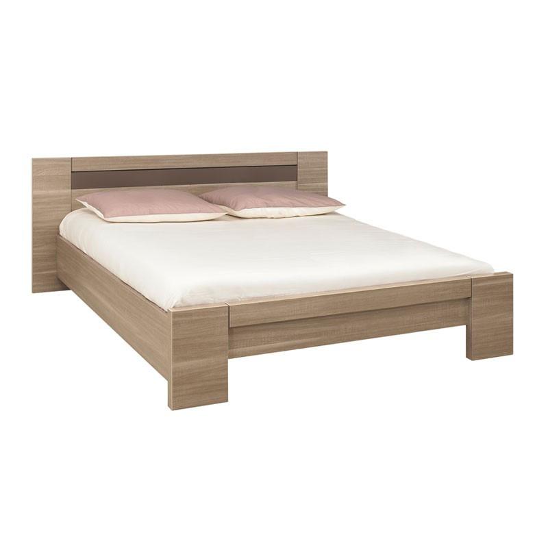 Cadre de lit + Tête de lit 160*200 bois chêne fumé - Univers Chambre : Tousmesmeubles