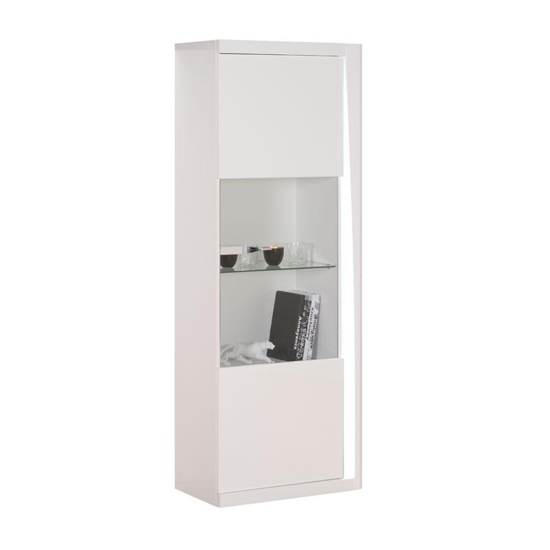 vitrine 1 portes laqu s blanc megs univers de la salle. Black Bedroom Furniture Sets. Home Design Ideas