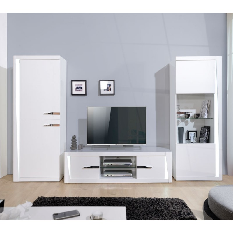 armoire de salon laqu e blanc megs univers de la salle. Black Bedroom Furniture Sets. Home Design Ideas