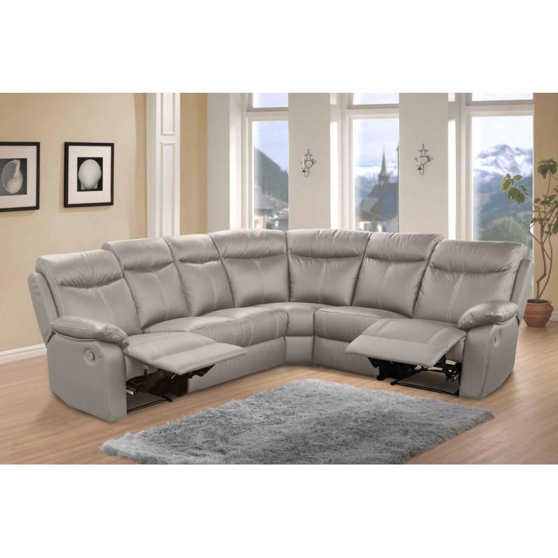 Canapé d'angle Relax 7 places Cuir Gris VYCTOIRE - Univers Salon : Tousmesmeubles
