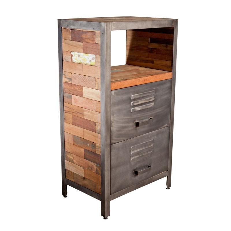 Meuble 2 tiroirs 1 niche industriel bois recyclé métal - Univers Petits Meubles : Tousmesmeubles