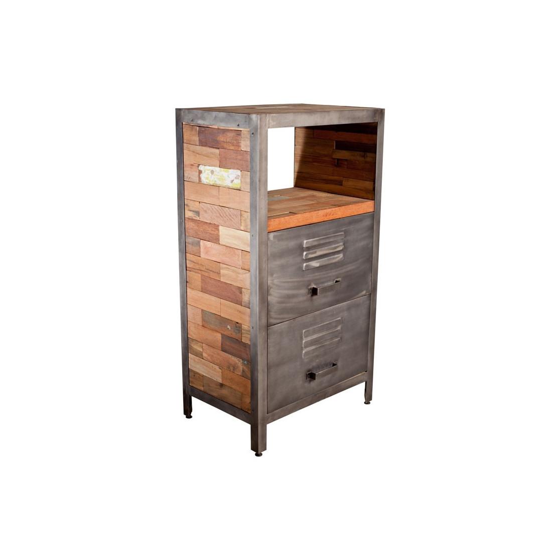 Meuble d 39 appoint 2 tiroirs 1 niche bois fabrik univers for Meuble a petits tiroirs
