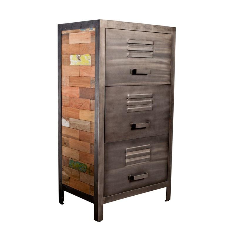 Meuble 3 tiroirs bois recyclé métal industriel - Univers Petits Meubles : Tousmesmeubles