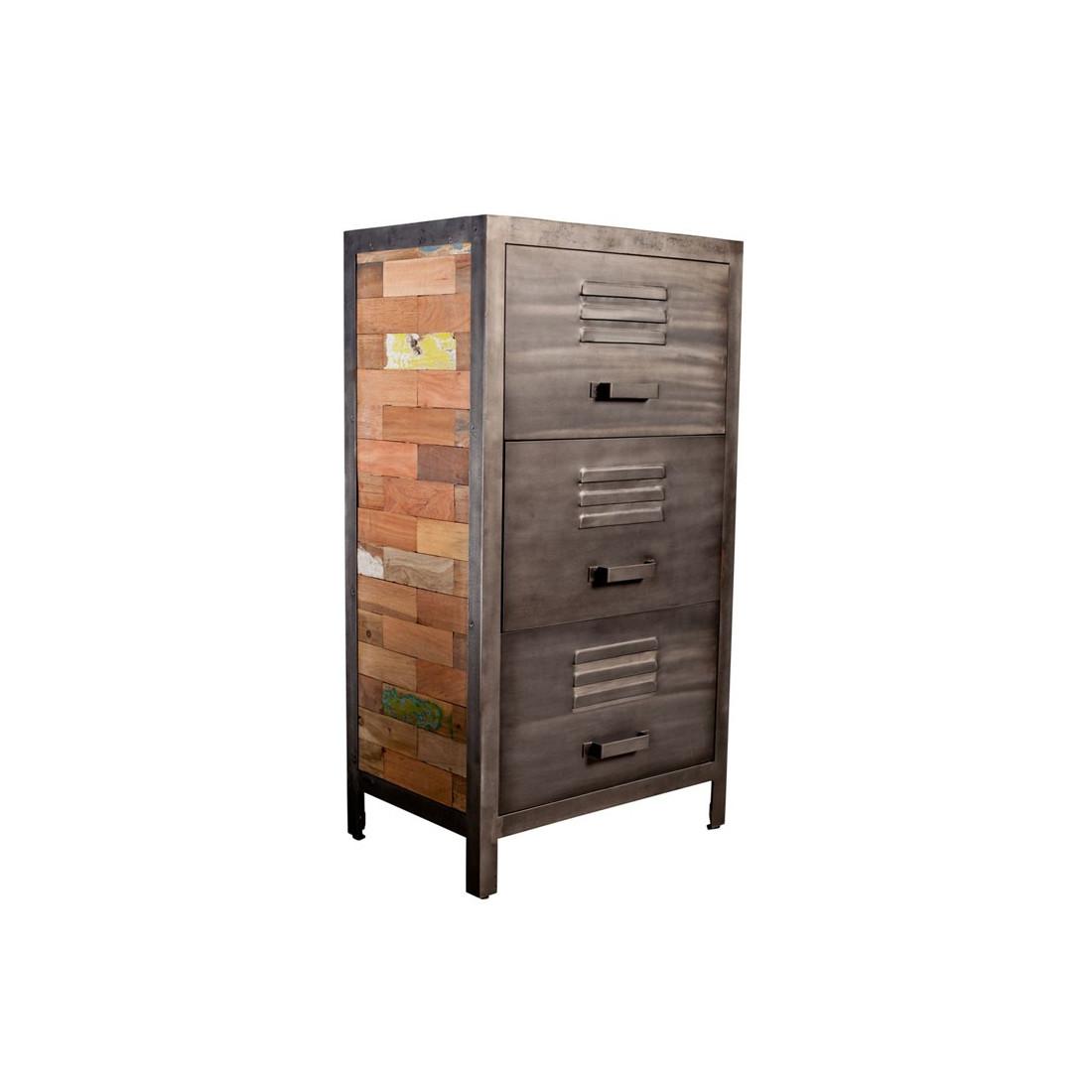 Chiffonnier bois 3 tiroirs fabrik univers des petits meubles for Meuble a petits tiroirs