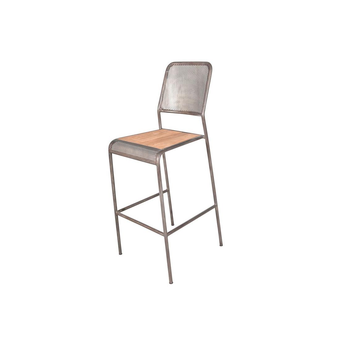 chaise de bar m tal perfor avec dossier univers salon tousmesmeubles. Black Bedroom Furniture Sets. Home Design Ideas