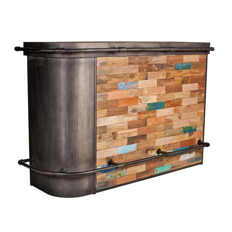 Bar industriel métal bois recyclé - Univers Salon : Tousmesmeubles