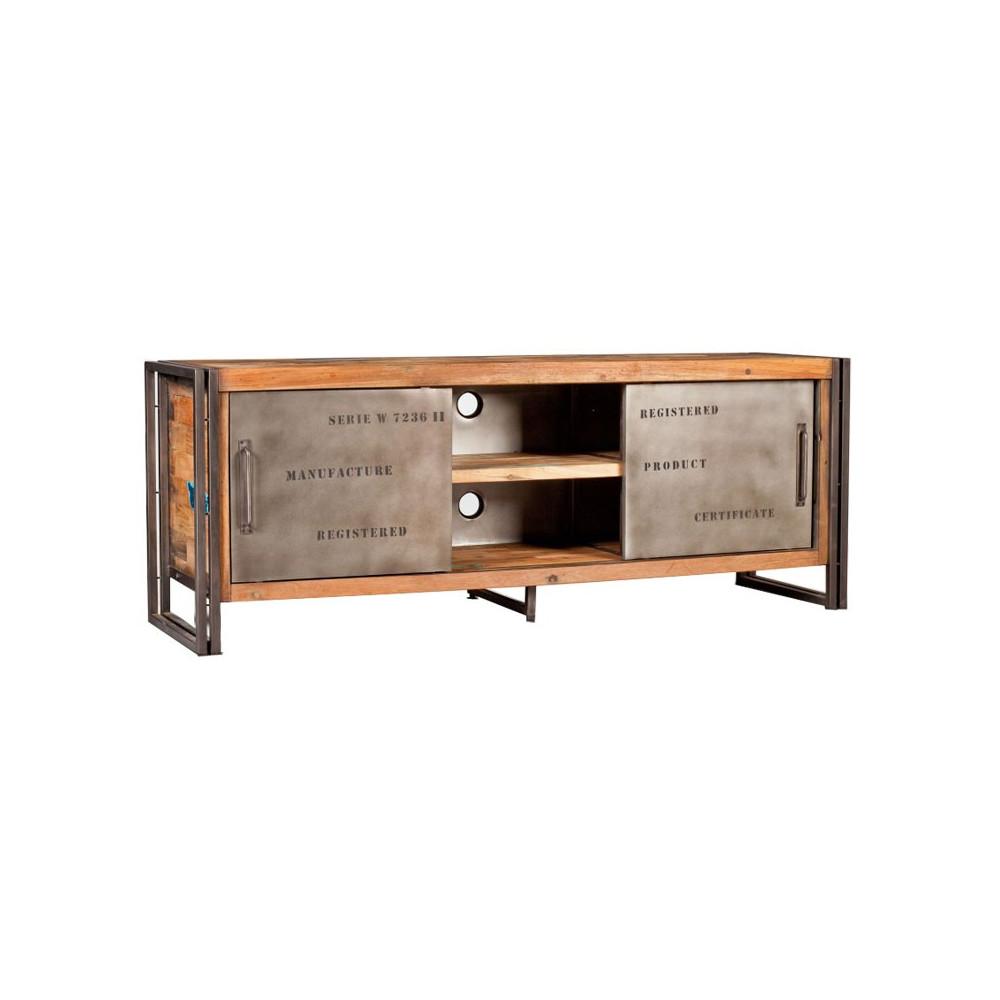 Meuble TV 2 portes coulissantes bois recyclé métal industriel - Univers Salon : Tousmesmeubles