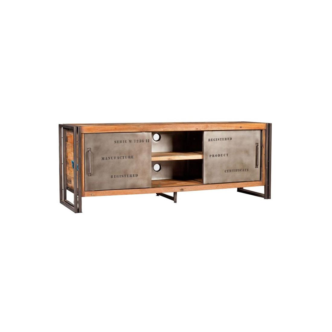 meuble tv portes coulissantes industry univers salon tousmesmeubles. Black Bedroom Furniture Sets. Home Design Ideas