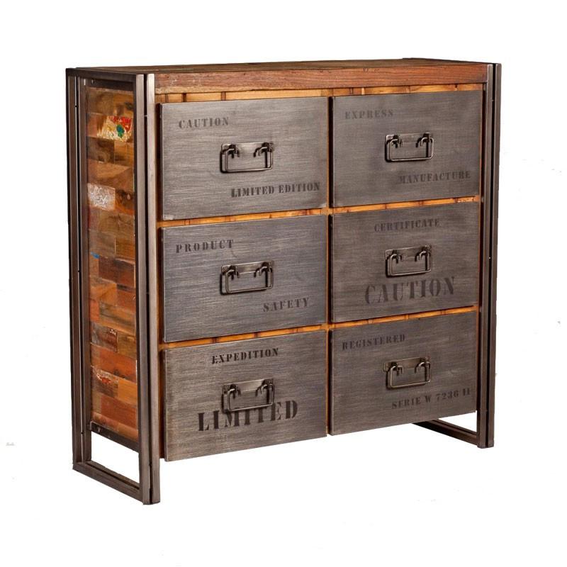Meuble 6 tiroirs bois recyclé métal industriel - Univers Petits Meubles : Tousmesmeubles