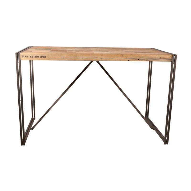 Table mange debout bois recyclé métal industriel - Univers Salle à Manger : Tousmesmeubles