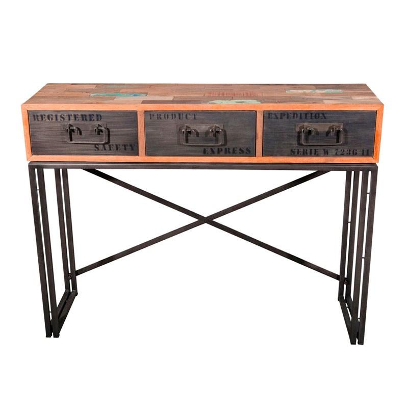Console en bois 3 tiroirs - INDUSTRY
