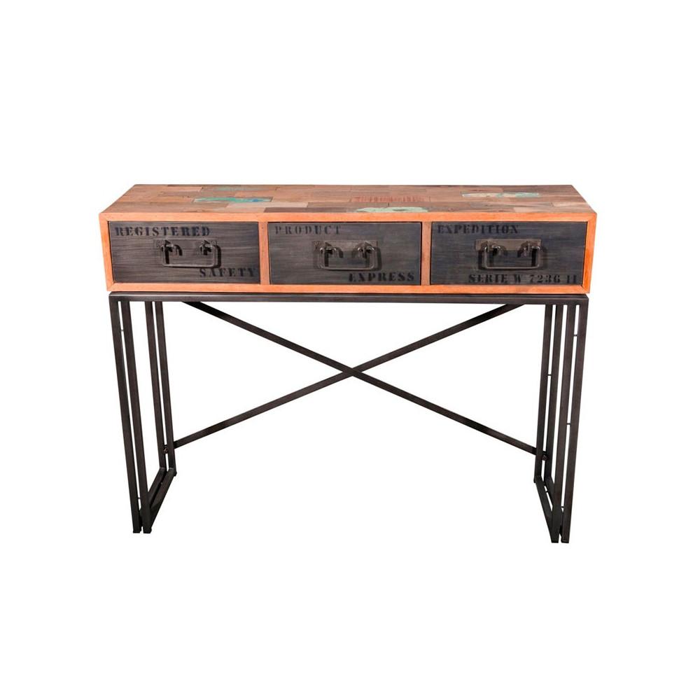 Console 3 tiroirs bois recyclé métal industriel - Univers Petits Meubles et Salon : Tousmesmeubles